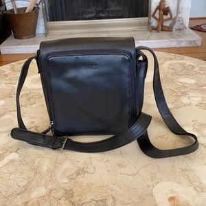 Roots Leather Compact Organizer Shoulder Bag